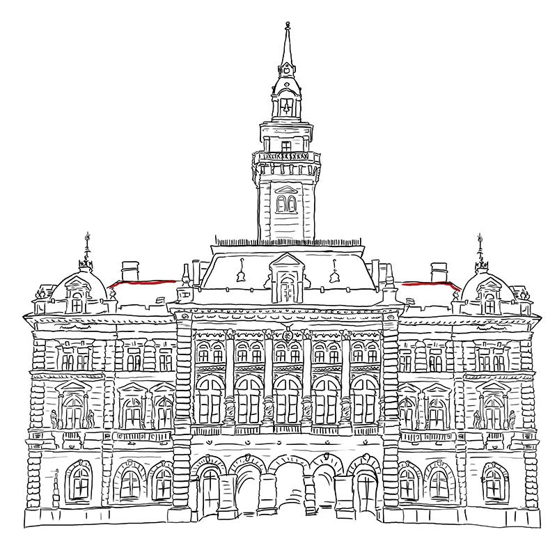 Gradska kuća, ilustracija