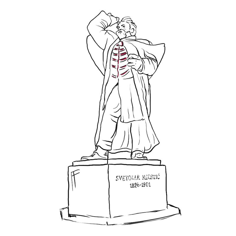 Spomenik Svetozaru Miletiću, ilustracija